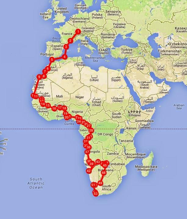 Trans-Afrika-Westroute mit möglichen Tagesetappen