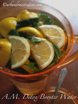 morning detox drink water cucumbers mint and lemon
