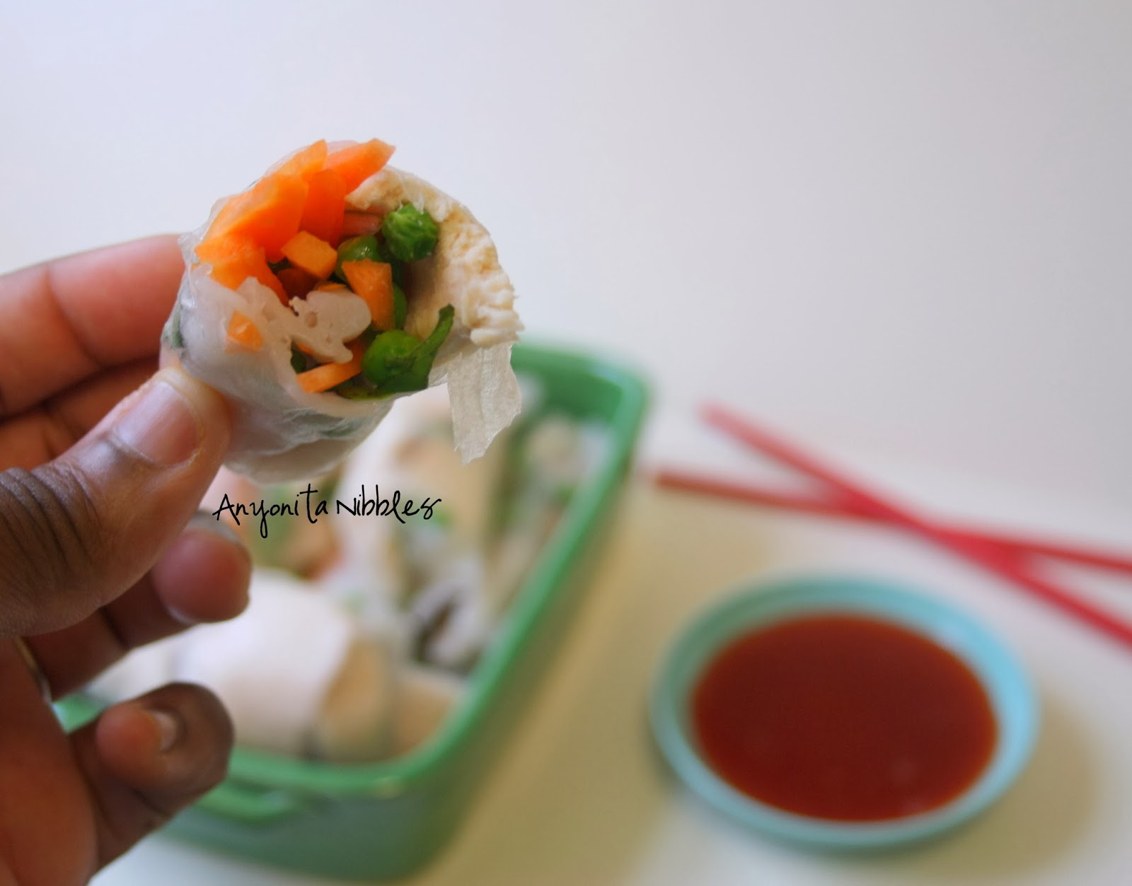 Inside a chicken rice paper roll
