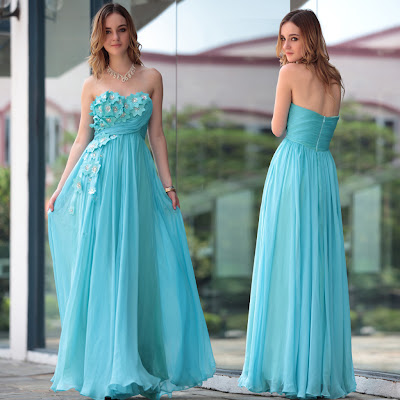 Ice Blue Sweetheart Floor Length Dress