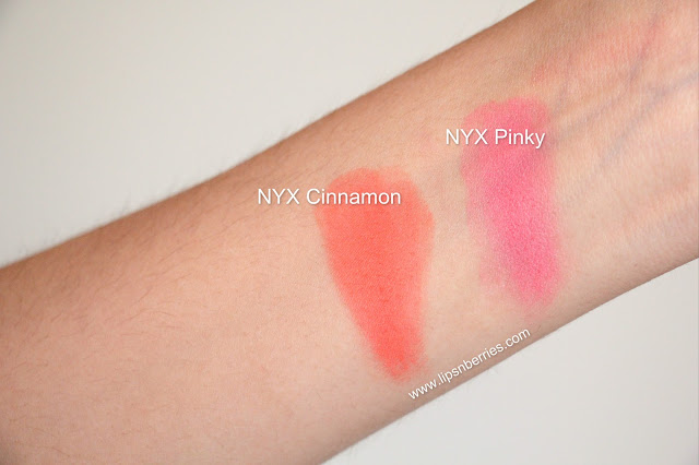 NYX blush Cinnamon Pinky swatches