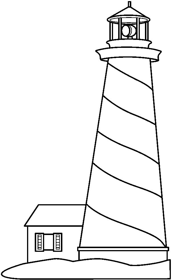 Line Art Lighthouse : Black and white lighthouse clip art sketch coloring page