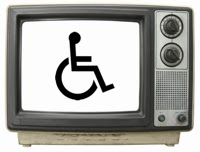 Photo of an old-style TV set with wheelchair symbol on the screen