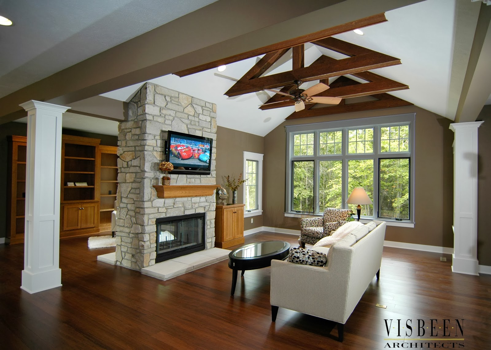 Living Room With Fireplace In Middle room guide: fireplace | visbeen architects