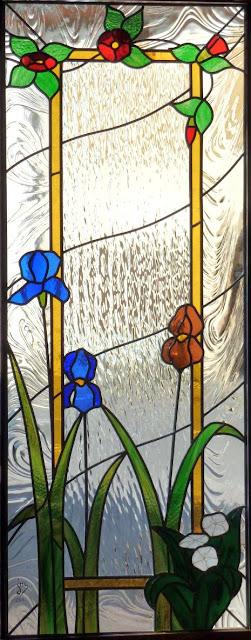 cloison intérieure avec vitrail