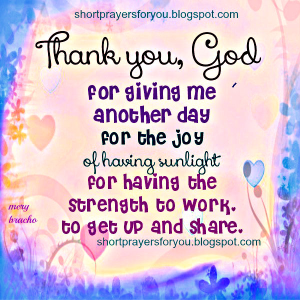 thank you God for this day free christian short prayer image