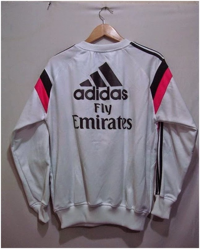 Agen Sweater Sepak Bola GO 2014-2015 Real Madrid White Pink Official