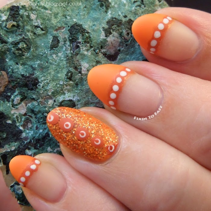 Orange dotted french tip dots within dots matte