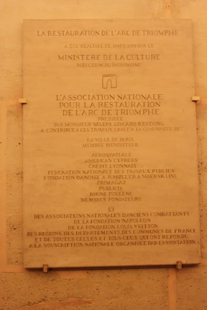 The sign at the top level of Arc de Triomphe in Paris, France