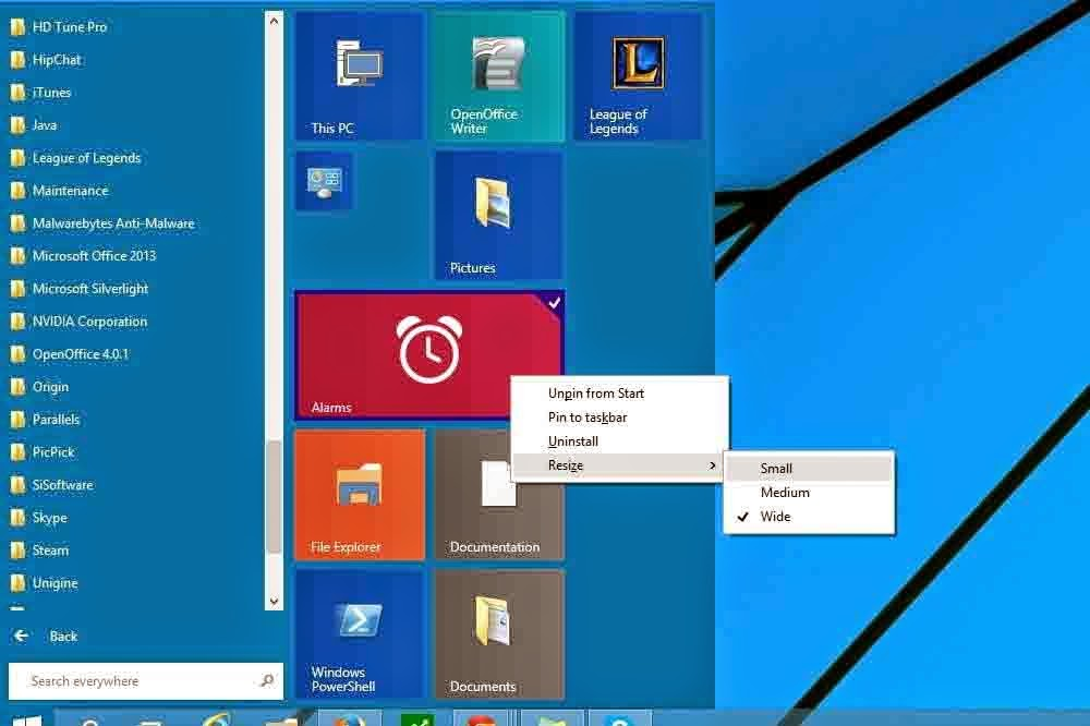 Windows 10 Start Menu Resize