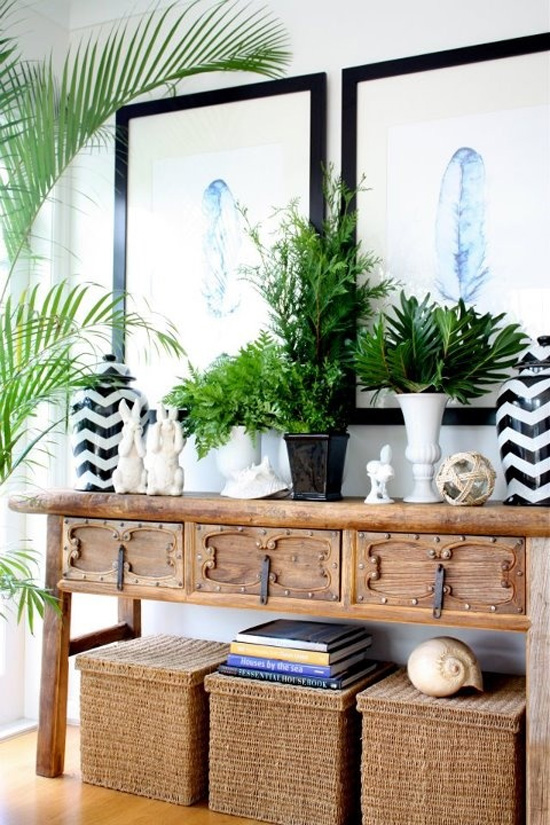Belle maison fresh greens decorating with houseplants for Planta tropical interior