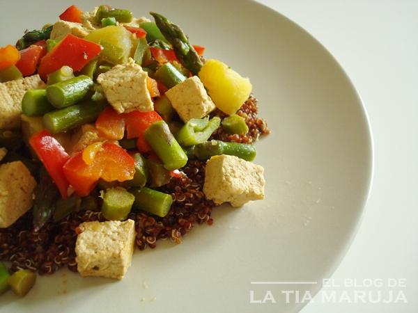 receta salteado quinoa tofu verduras