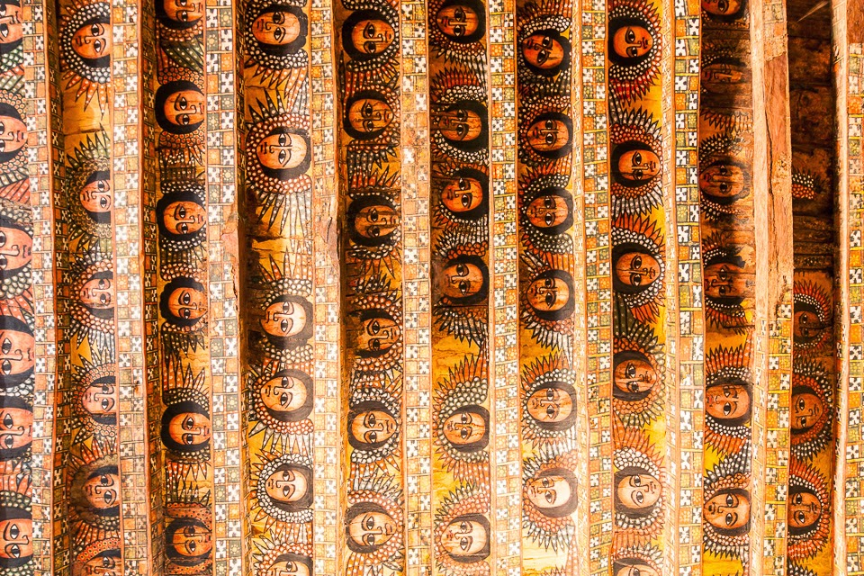 the ceiling of the Debre Berhan Selassie Church in Gondar