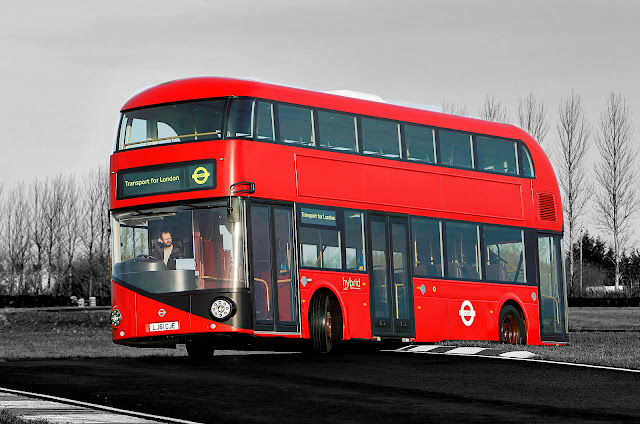 London Bus Black and white with Color Photo track driving