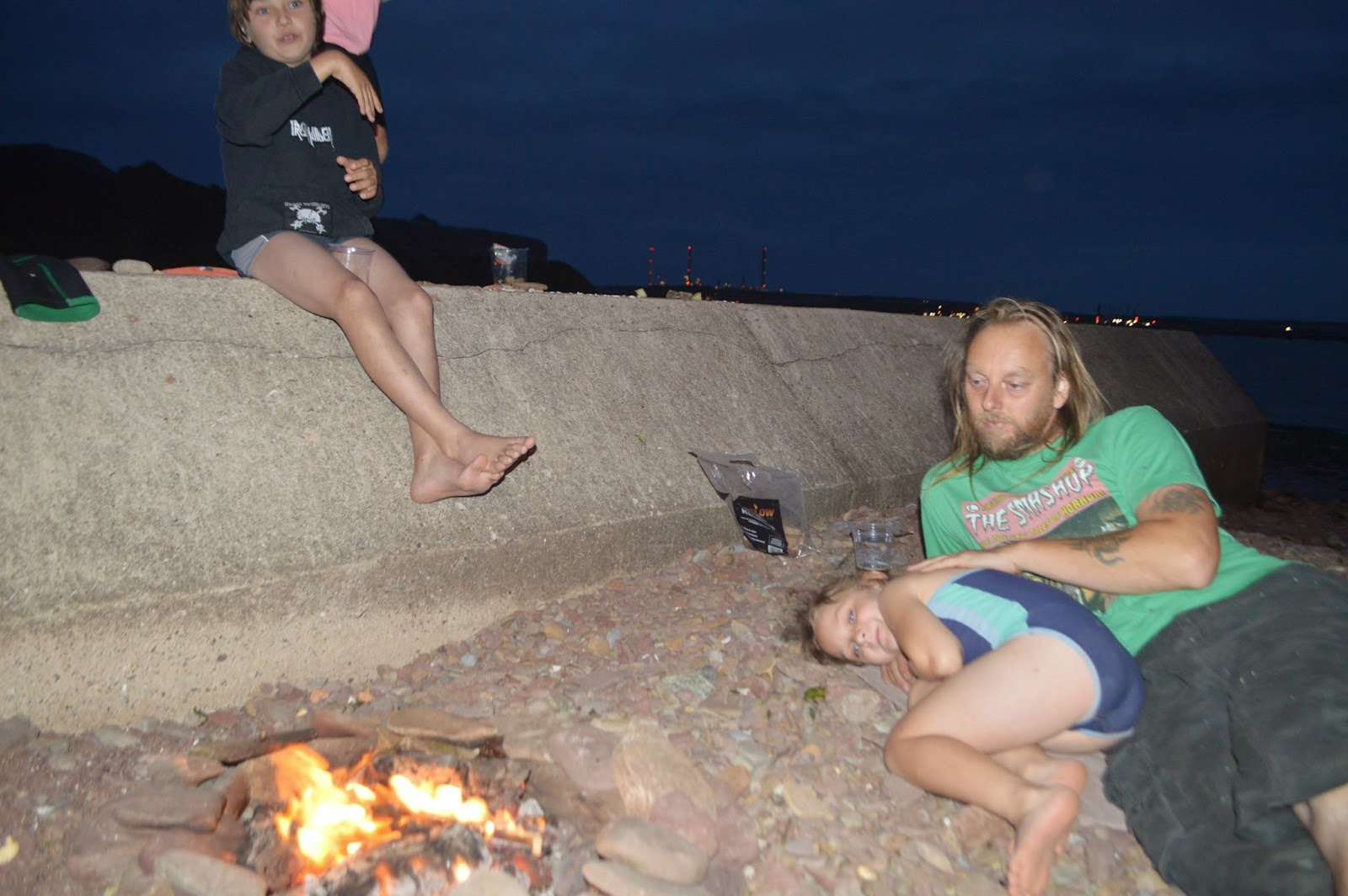 Family Birthday Beach Fire Play Gelliswick Pembrokeshire Wales