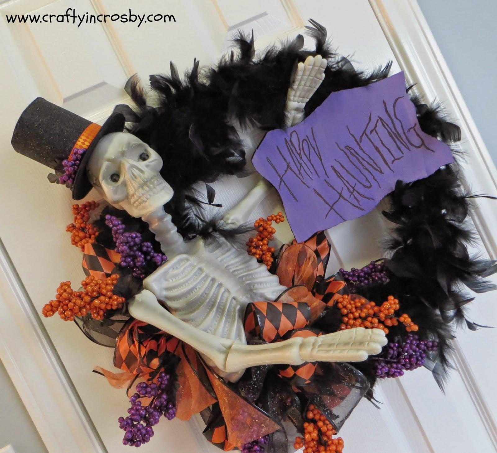 Dollar Tree, .99 Store, Halloween DIY, Knock Off Decor, skeleton, skull, feather boa