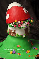 Topsy turvy mushroom cake
