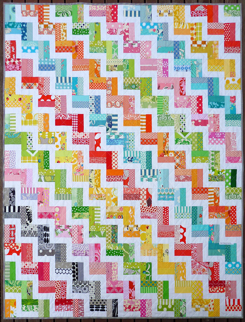 Zig Zag Rail Fence Quilt pattern by Red Pepper Quilts