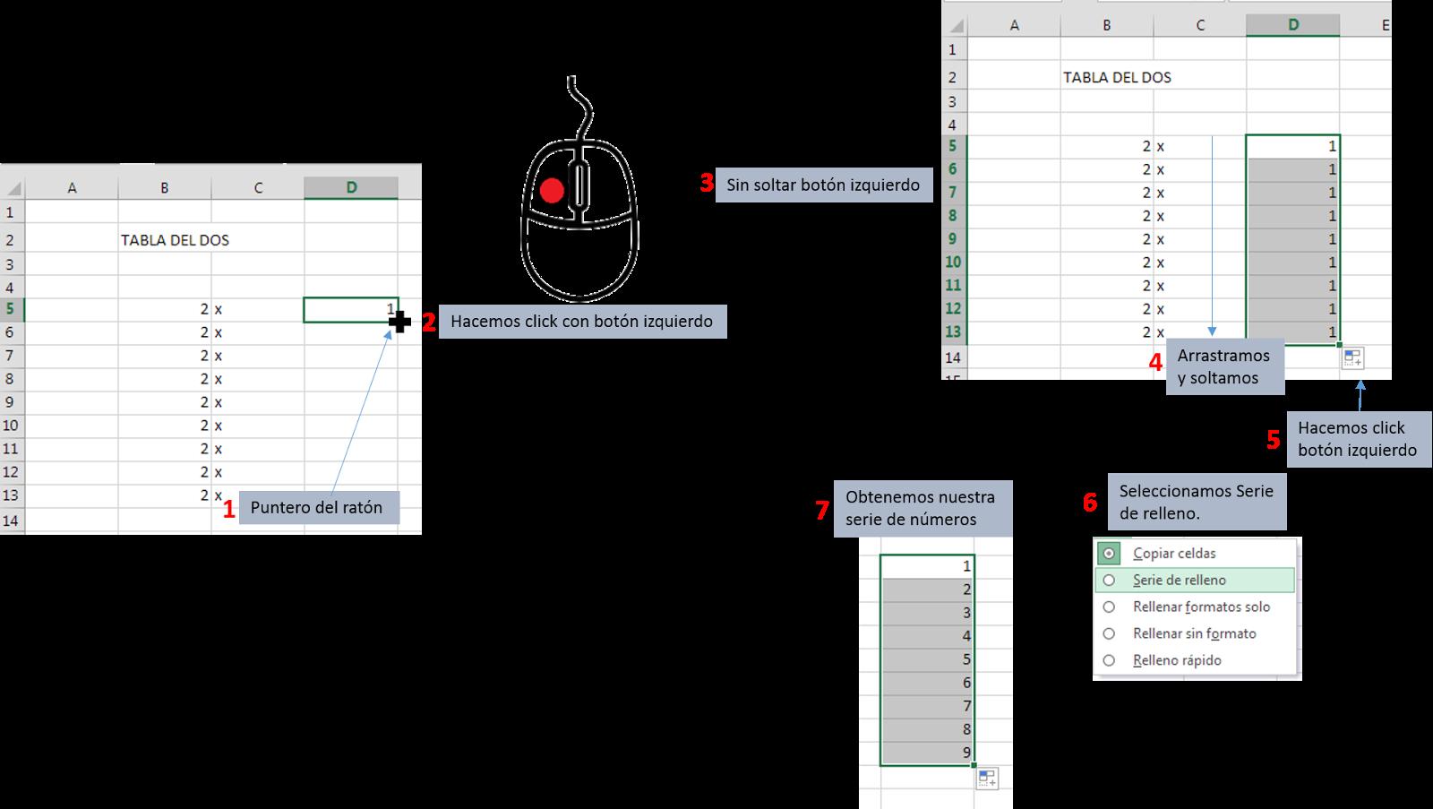 Crear serie de relleno en Excel