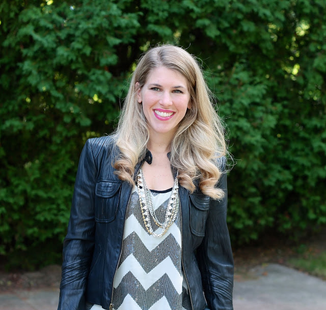 Sequin chevron top, leather moto jacket, dark jeans, snakeskin heels, and grey clutch