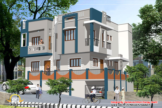 India house design - Elevation view 1 - 2435 Sq.Ft.