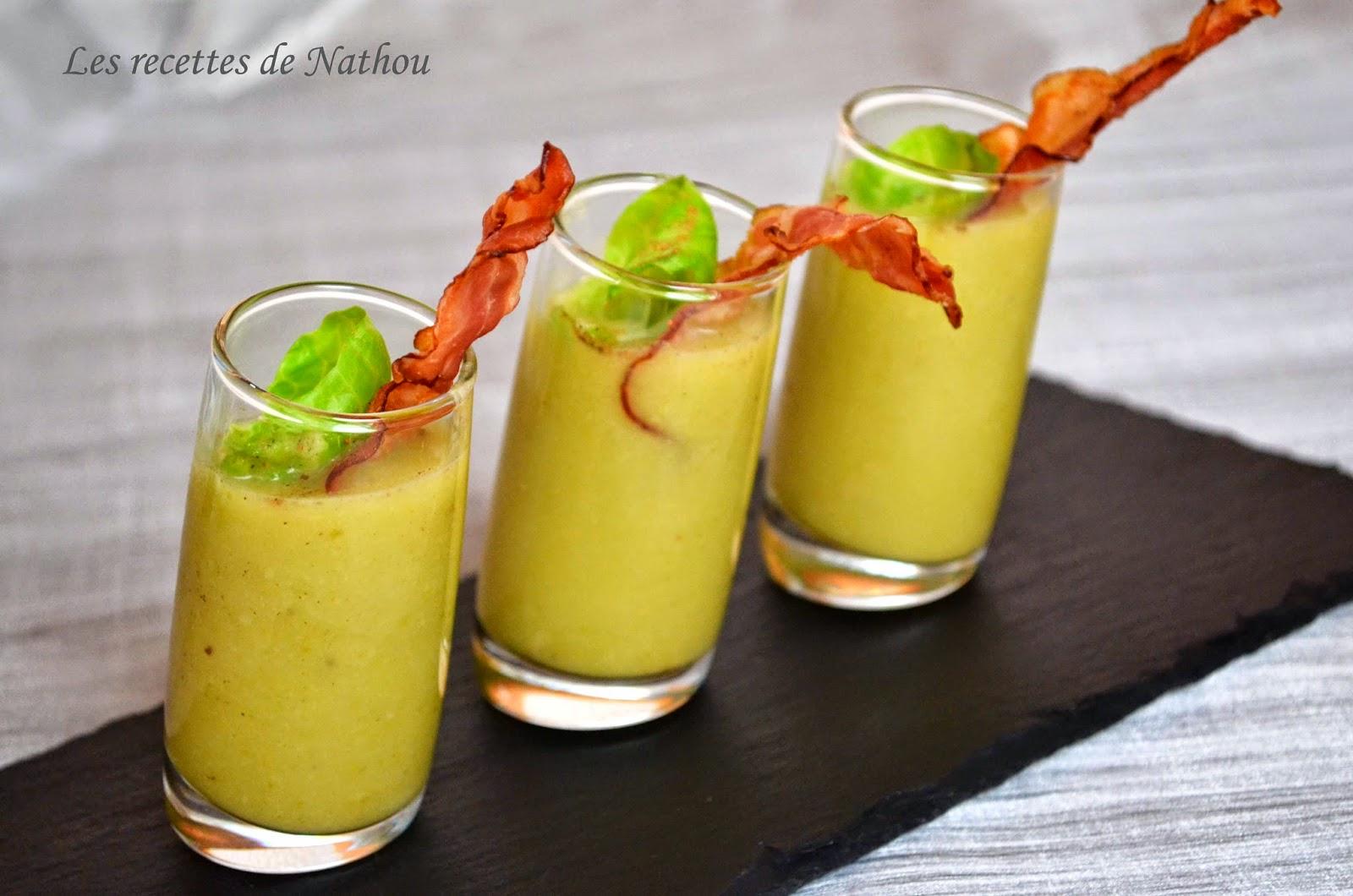 Verrines de soupe aux choux de bruxelles muscade et lard - Verrine pour noel ...