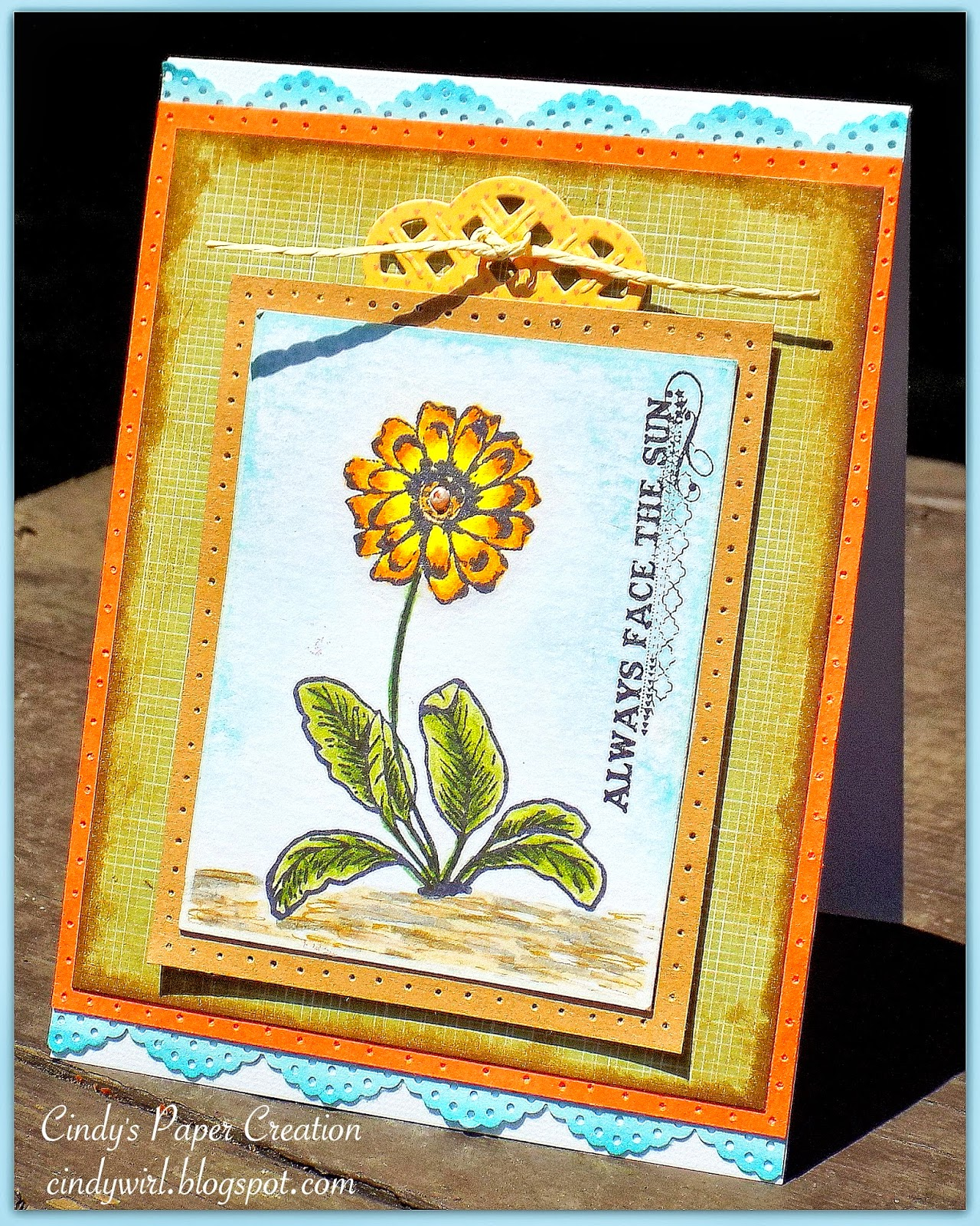 Handmade card Always Face The Sun by cindywirl.blogspot.com