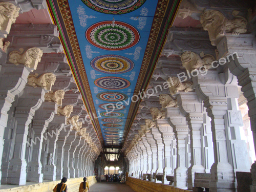 Picture of Longest Temple Corridor at Rameshwaram Ramanathaswamy Temple in Tamilnadu India