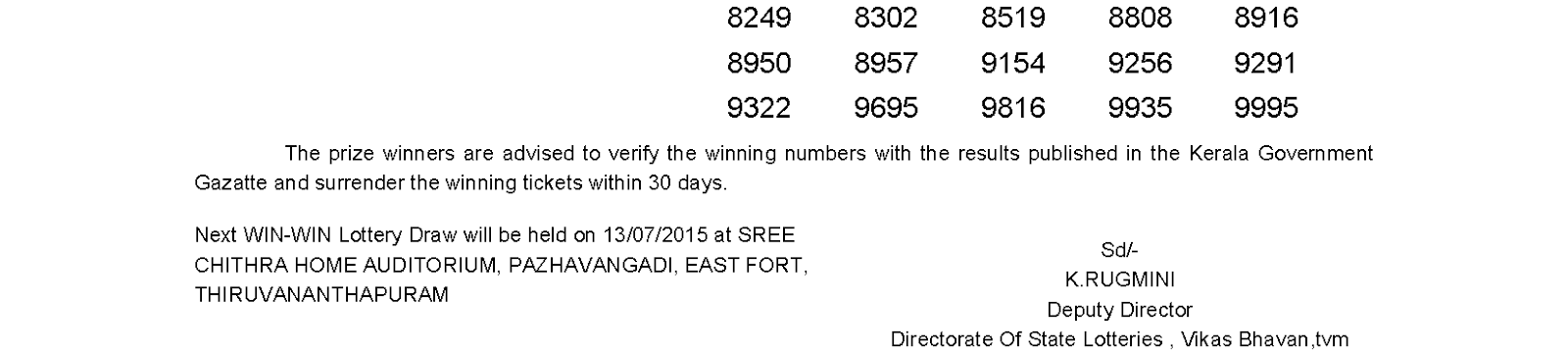 WIN WIN Lottery W 315 Result 6-7-2015