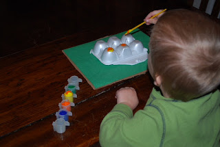 Little kids like egg cartons for crafts