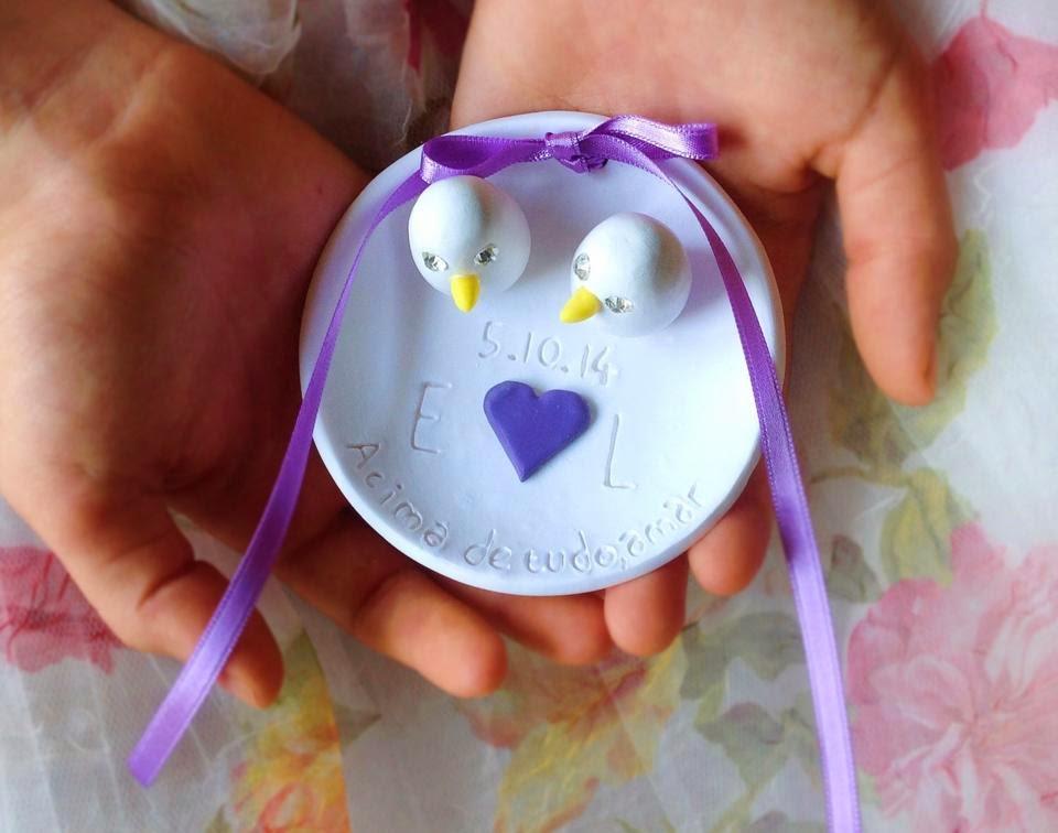 porta alianças ceramica com passarinhos