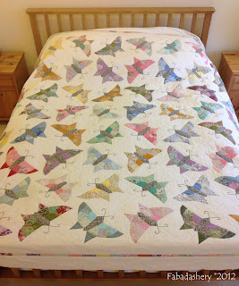 Butterfly Quilt on the Bed English Paper Piecing