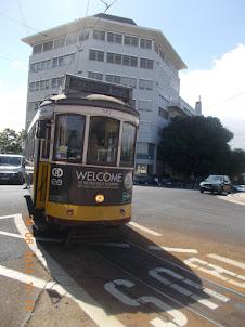 """""""Tram N0 28"""" arriving at Martin Monez Tram stop in Lisbon."""