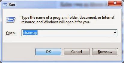 Membuka Character Map di Windows