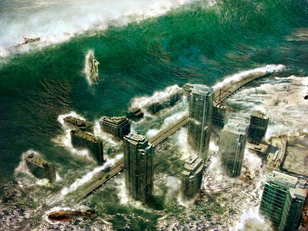 Apocalipse: Tsunami gigante invadindo litoral em 2036, arte digital