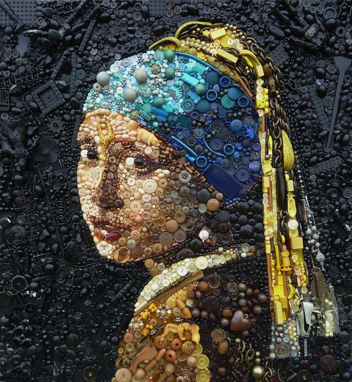 Artista usa cientos de objetos encontrados para recrear pinturas emblemáticas y retratos