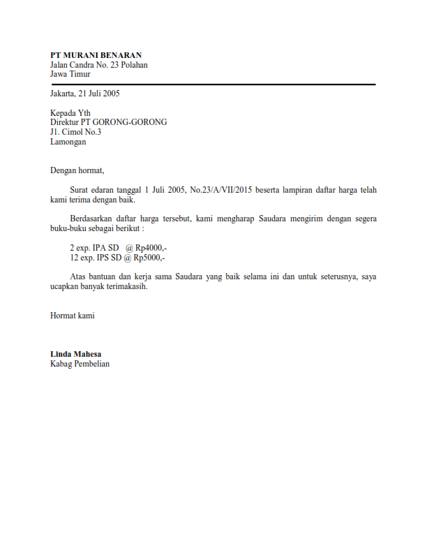 Contoh Surat Lamaran Kerja Full Block Style Dalam Bahasa