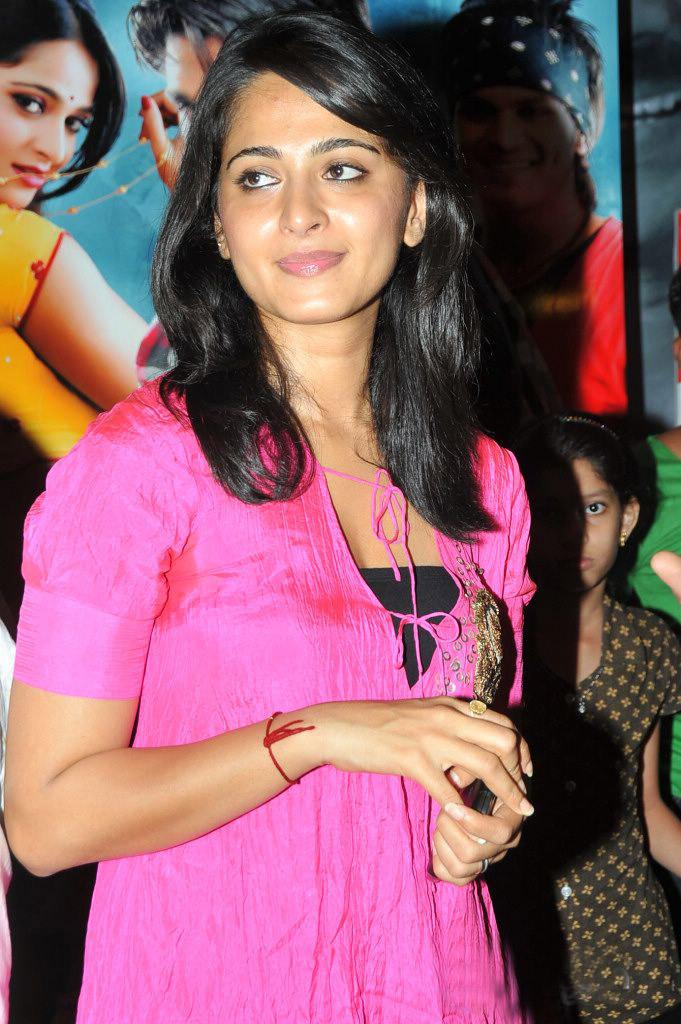 Anushka Shetty Stills in Pink Dress