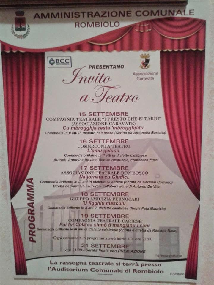 Invito a teatro...il 19 settembre 2014...vi aspettiamo
