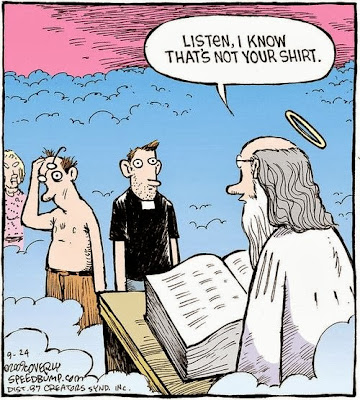 image: Saint Peter Cartoon: I Know That's Not Your Shirt
