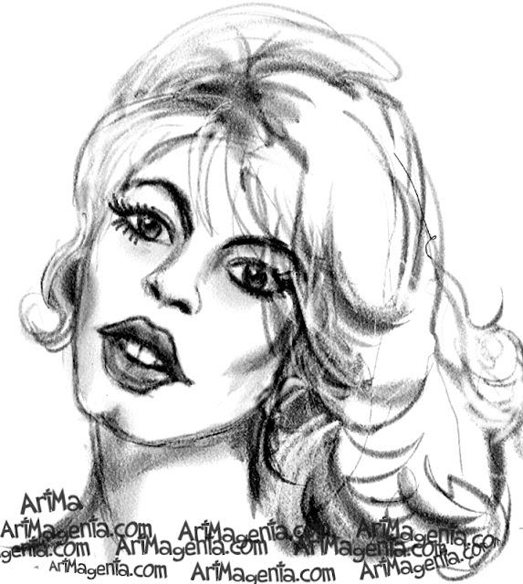 Brigitte Bardot caricature cartoon. Portrait drawing by caricaturist Artmagenta.
