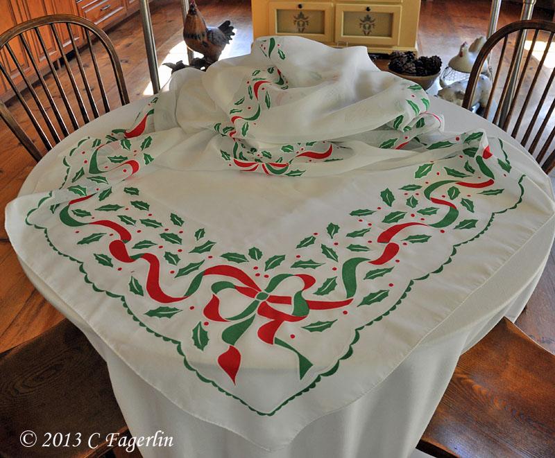 Sheer Cotolene Christmas Tablecloth