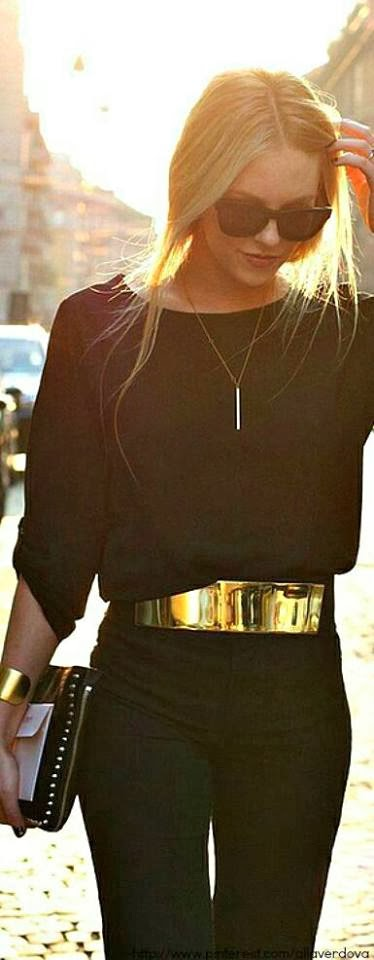 Amazing Street Style Combination - Black Blouse, Handbag and Pants with Golden Belt and Bracelets