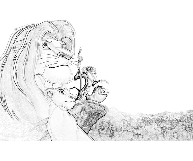 Printable The Lion King Simba Characters Coloring Pages title=