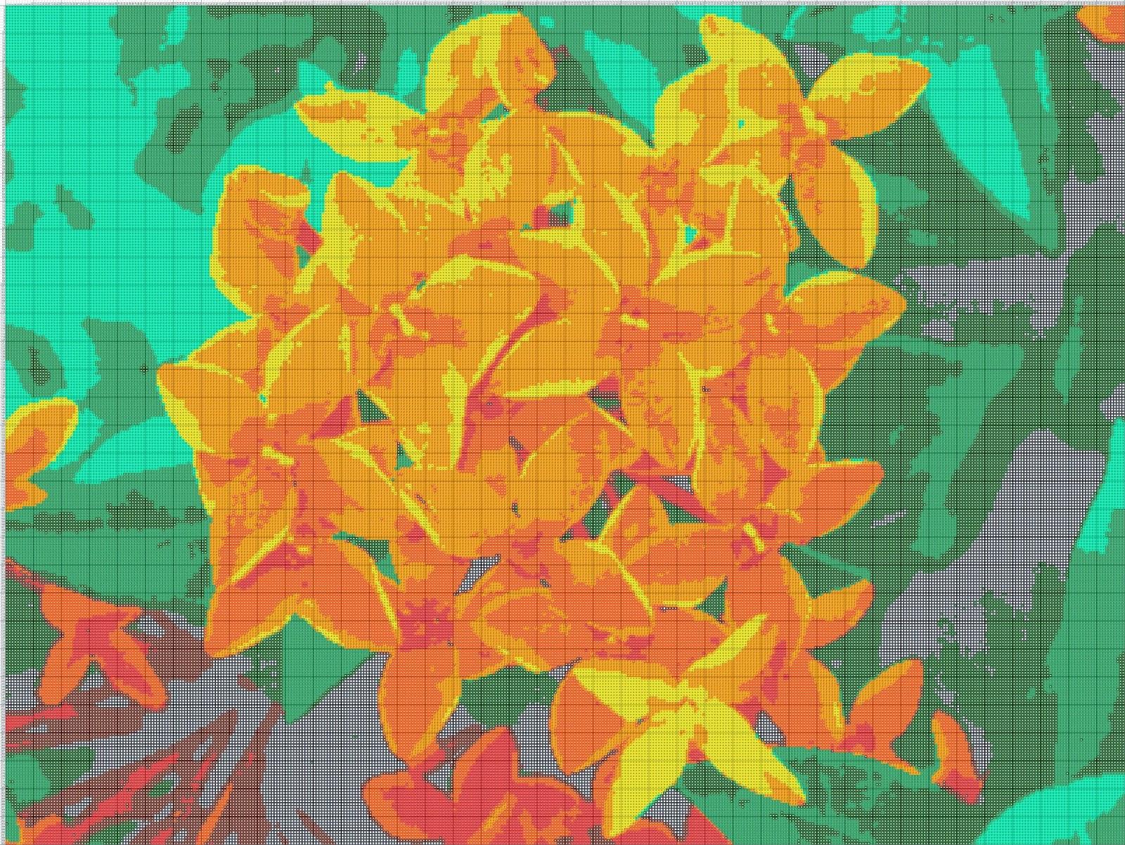 Gambar Pola Kristik  Bunga Asoka