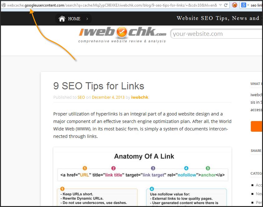 contoh penggunaan google cache untuk menemukan informasi