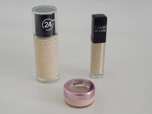 Revlon Colorstay für normaletrockene Haut in 110 ivory, Rival de Loop Natural Touch Concealer in 01, p2 perfect face refine + prime concealer + base in 030 rose