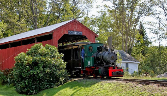 Boothbay Railway Museum covered bridge with train