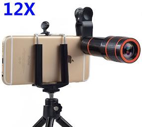 Ống nhòm chụp ảnh kẹp điện thoại 12x có chân đế tripod