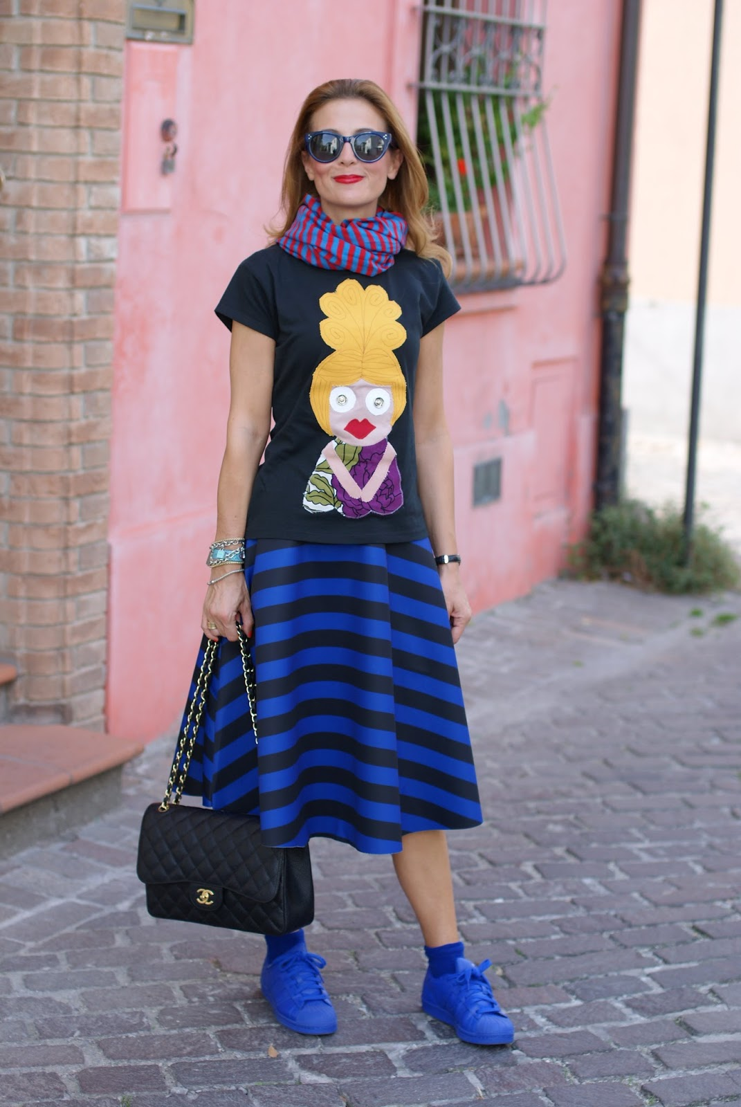 adidas supercolor sneakers in blue, Chanel 2.55 bag and striped midi skirt on Fashion and Cookies fashion blog, fashion blogger style